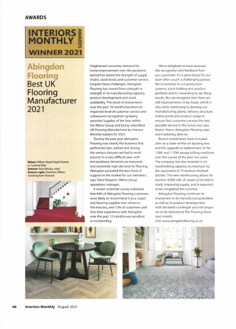 Interiors Monthly Awards 2021